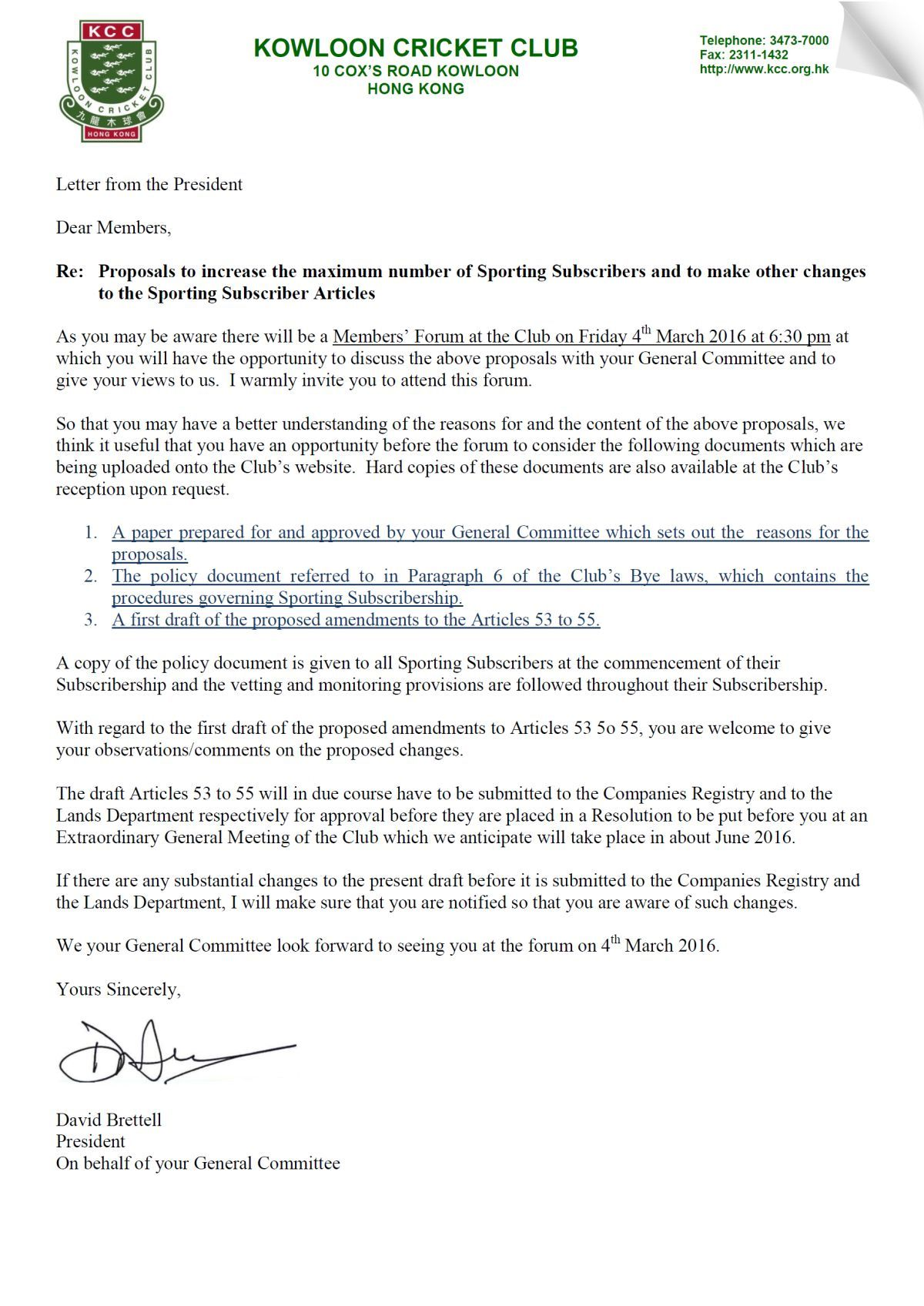 Letter from the President || Kowloon Cricket Club