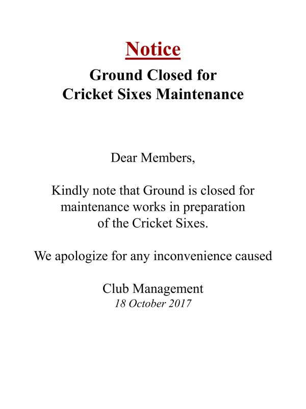Ground Closed for Oct2017