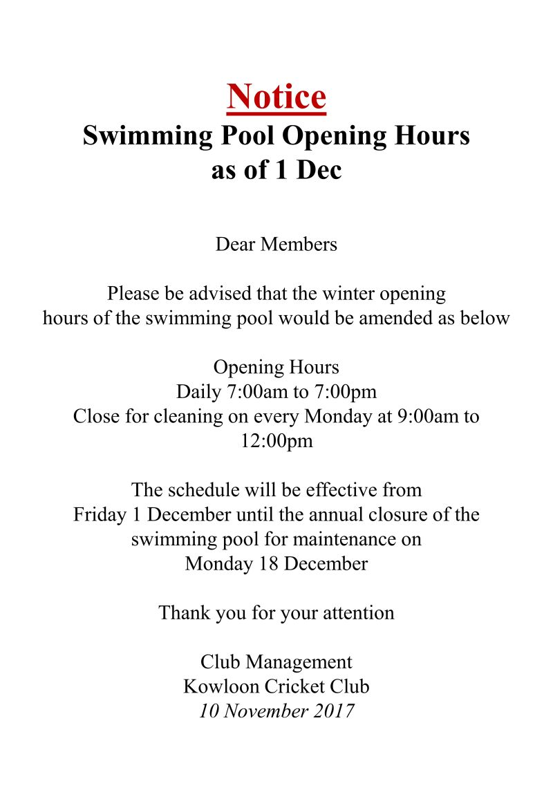 Club notice archives kowloon cricket clubkowloon cricket - Bangsar swimming pool opening hours ...