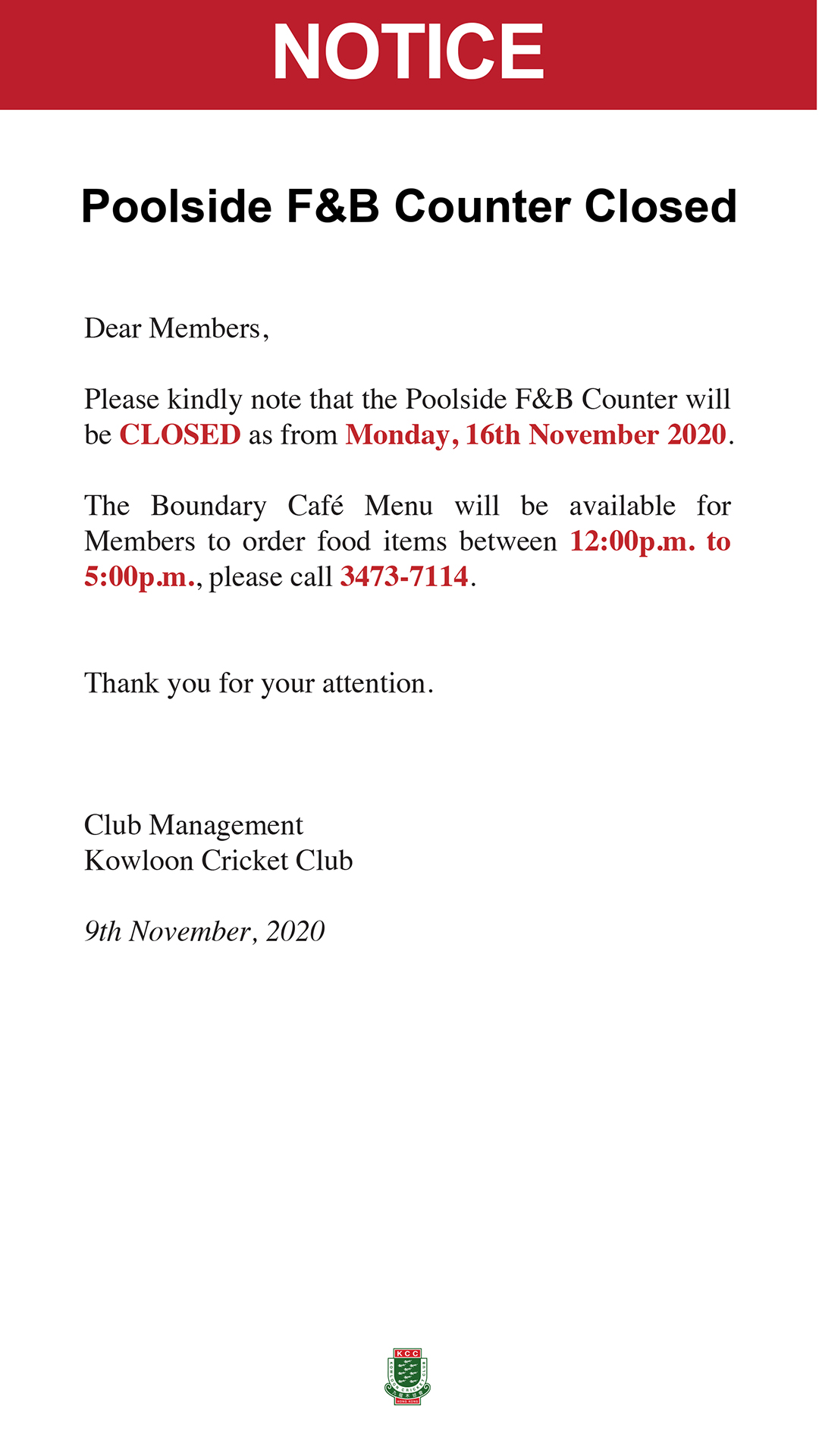 201911-Poolside F&B Counter CLOSED-notice-ENB